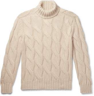 Brunello Cucinelli Oversized Cable-Knit Cashmere Rollneck Sweater