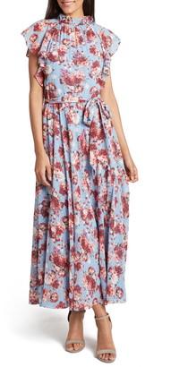 Tahari Floral Print Chiffon Maxi Dress