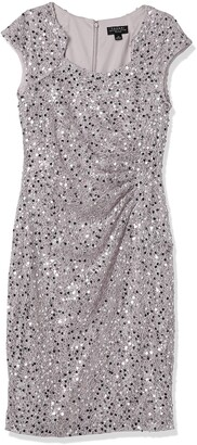 Tahari ASL Women's Plus Size Side Ruched Notch Neck Sequin Sheath Dress