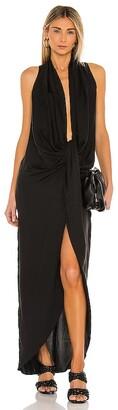 L'Academie Drape Front Midi Dress