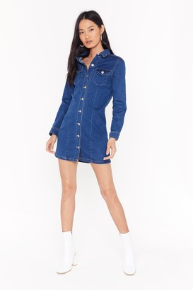 Nasty Gal Womens Born With Good Jeans Button-Down Denim Dress - blue - XL