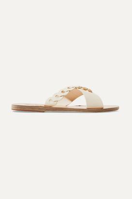 Ancient Greek Sandals Thais Links Leather Slides - Cream