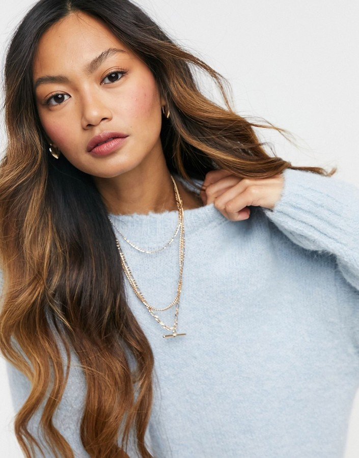 Thumbnail for your product : Weekday Alba longline knitted jumper in light blue