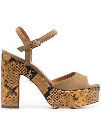 Tory Burch Snakeskin-Print Platform Sandals