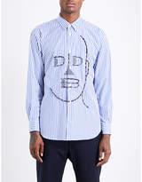 Comme Des Garcons Shirt Face-print Striped Regular-fit Cotton Shirt