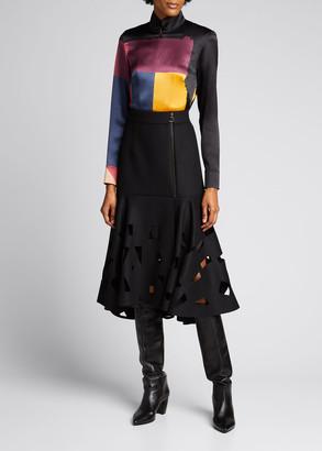 Akris Geometric-Print Zip-Front Tunic Top