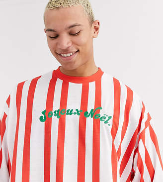Asos Design DESIGN Tall Christmas oversized vertical stripe t-shirt with embroidery-White