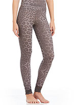 Betsey Johnson Leopard-Print Waffle Knit & Lace Sleep Leggings