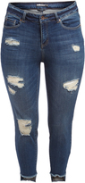 Dollhouse Moody Blue Distressed Crop Jeans - Plus