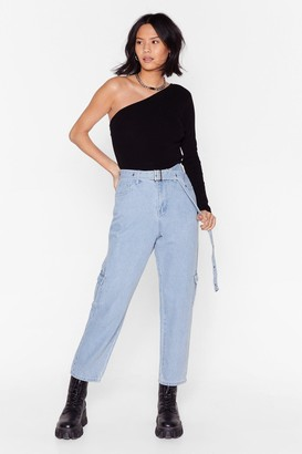 Nasty Gal Womens Wash's Next High-Waisted Utility Jeans - Blue - 6
