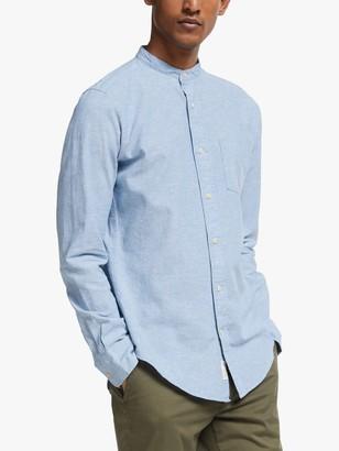 John Lewis & Partners Regular Fit Cotton Linen Grandad Collar Shirt, Blue