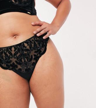 Figleaves Curve Velvet Baroque thong in black