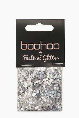 boohoo NEW Womens Festival Glitter Bag- Holographic in Silver size One