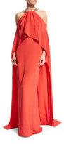Monique Lhuillier Halter Cold-Shoulder Cape Gown, Geranium