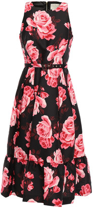 Kate Spade Belted Floral-print Crepe De Chine Midi Dress