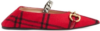 Gucci Women's check ballet flat with Horsebit