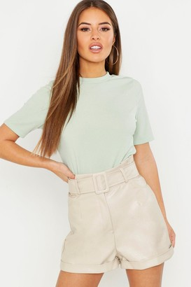 boohoo Petite Ribbed Basic T Shirt
