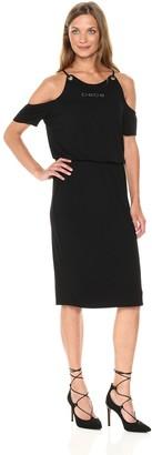 Bebe Women's Rayon Span Cold Shoulder Logo Day Dress