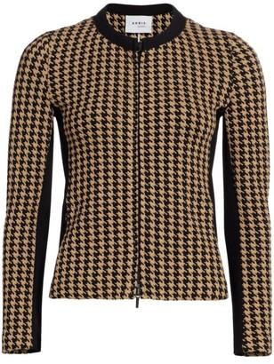 Akris Punto Houndstooth Jersey Zip-Front Jacket