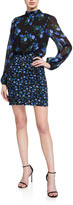 Shoshanna Kianna Montmarte Floral Long-Sleeve Short Dress
