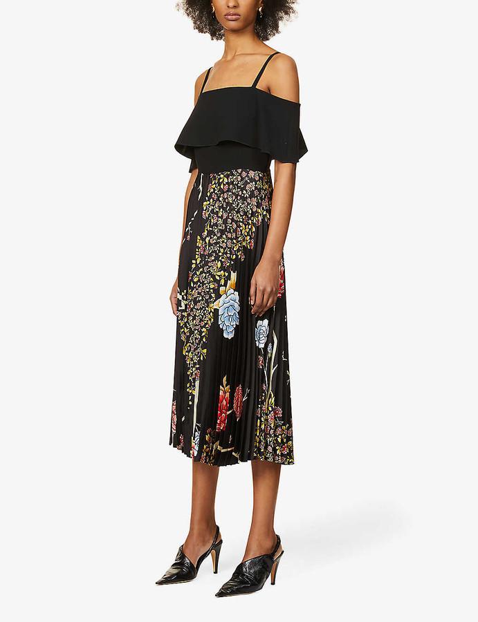 Victoria Victoria Beckham Floral-print cold-shoulder recycled polyester-blend midi dress