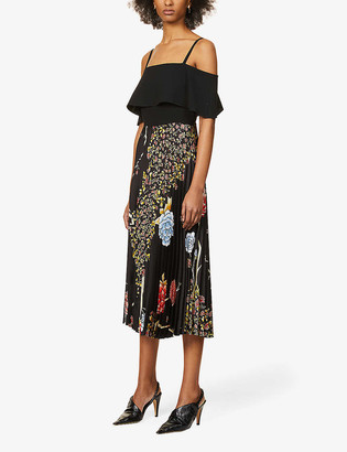 Victoria Victoria Beckham Floral-print cold-shoulder recycled polyester-blend midi dress