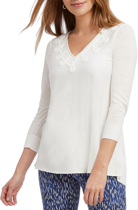 Nic+Zoe Wisteria V-Neck 3/4-Sleeve Top