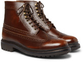 Grenson - Sebastian Pebble-grain Leather Longwing Brogue Boots
