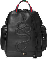 Gucci Snake embossed drawstring backpack
