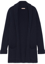 Michael Kors Oversized Ribbed Cashmere Cardigan - Navy