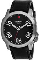 Nixon Ranger 45 A466-008 Men's Black Leather and Stainless Steel Watch