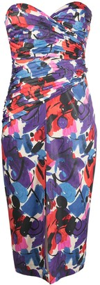 Rotate by Birger Christensen Abstract Print Front Slit Dress