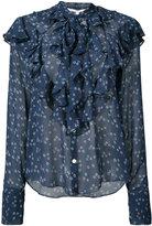 Veronica Beard ruffled floral print shirt