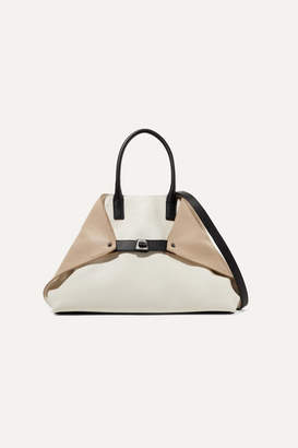 Akris Ai Small Textured-leather Tote - Ecru