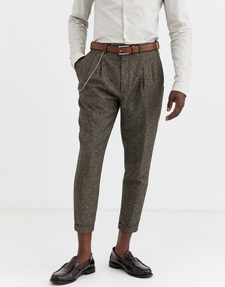 Twisted Tailor tapered fit cropped suit pants in herringbone