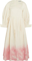 Vika Gazinskaya Ombré Pleated Linen And Silk-blend Dress - Ecru