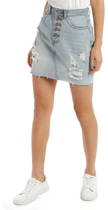 Missguided Light Blue Distressed Button Fly Denim Mini Skirt Lt