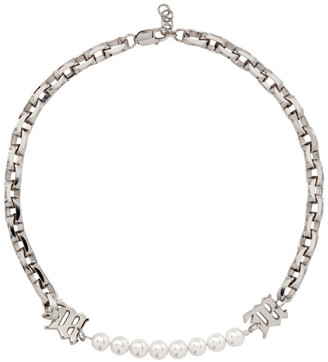 Misbhv Silver Pearl Insert Chain Necklace