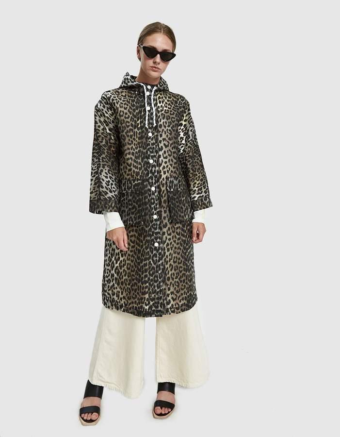 Ganni Cherry Blossom Leopard Print Rain Coat