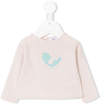 Knot Bird Embroidered Sweater