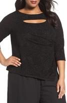 Alex Evenings Plus Size Women's Cutout Shimmer Jacquard Top