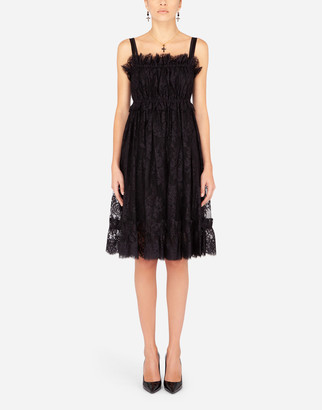 Dolce & Gabbana Lace Midi Dress With Spaghetti Straps
