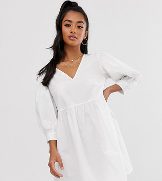 ASOS DESIGN Petite v front v back smock mini dress in cotton