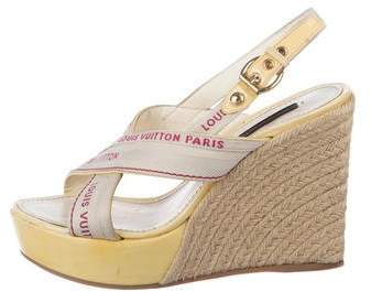Louis Vuitton Patent Leather Espadrille Wedge Sandals