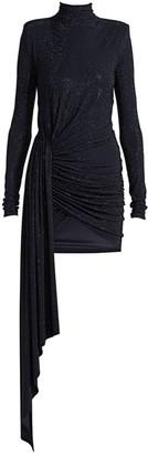 Alexandre Vauthier Micro-Crystal Turtleneck Faux Wrap Dress