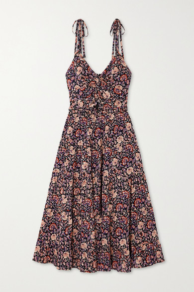 Ulla Johnson Kali Knotted Cutout Floral-print Cotton-blend Midi Dress - Plum
