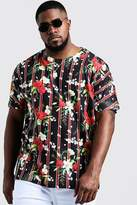 BoohooMAN Big & Tall Floral Vertical Stripe Jersey Tee