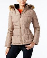 Calvin Klein Faux-Fur-Trim Hooded Water Resistant Puffer Coat