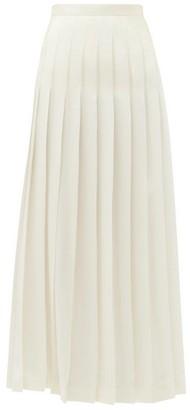 Giambattista Valli Pleated Silk Crepe De Chine Midi Skirt - Womens - Ivory