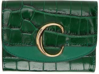 Chloé Green Small C Tri-Fold Wallet